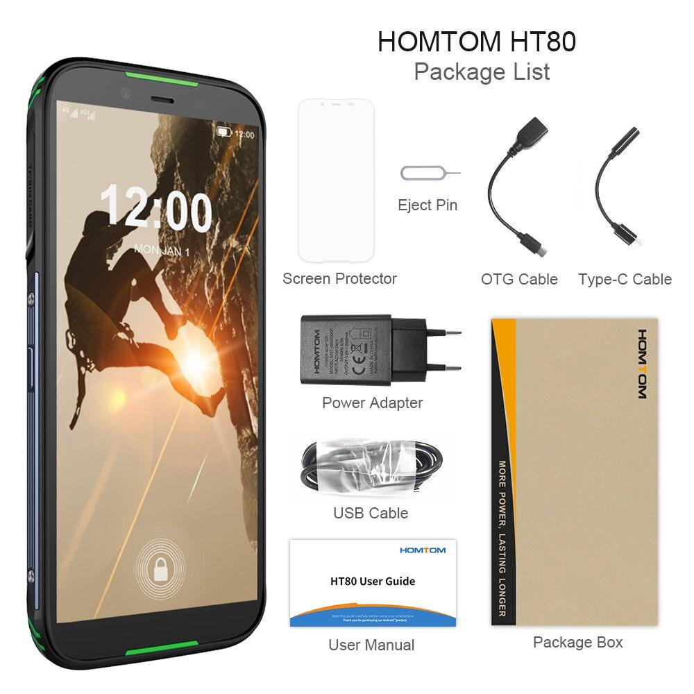 Version mondiale HOMTOM HT80 IP68 Smartphone étanche Android 10.0 5.5 pouces MT6737 Quad Core NFC sans fil charge SOS téléphone portable - 6