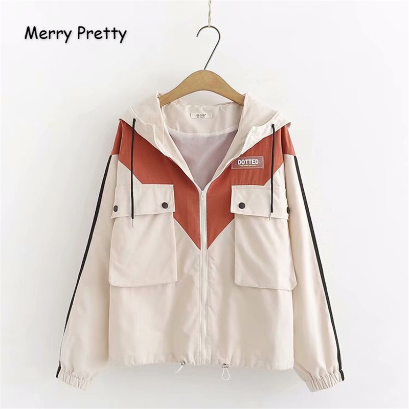 Merry Pretty Women Patchwork Pockets   Basic     Jackets   2019 Winter Long Sleeve Hooded   Jacket   Casual Loose Drawstring Outerwear Coats