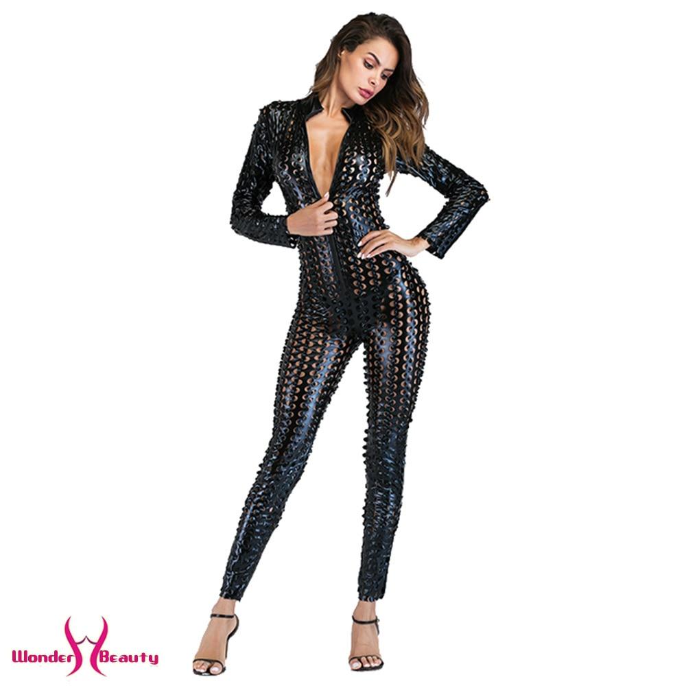 faux leather catsuit catwomen shiny black gold silver metallic leather jumpsuit wetlook pu leotard bodysuit bar night clubwear (34)