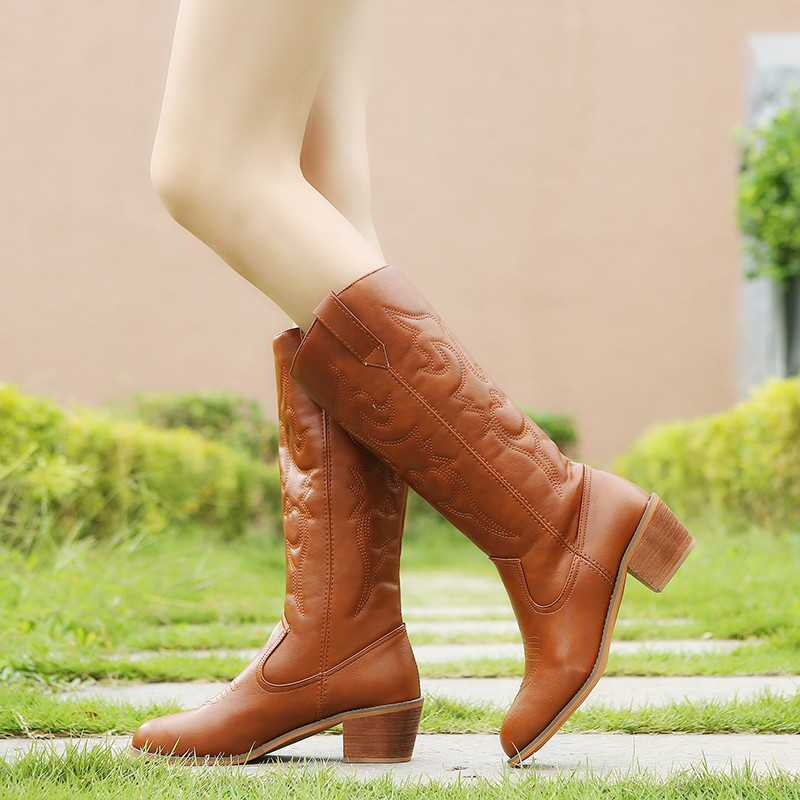 Image 2 - Lucyever 2019 Autumn Winter Vintage PU Leather Cowboy Boots for Women Fur Inside Slip on Riding Mid Calf Booties Plus SizeMid-Calf Boots   -