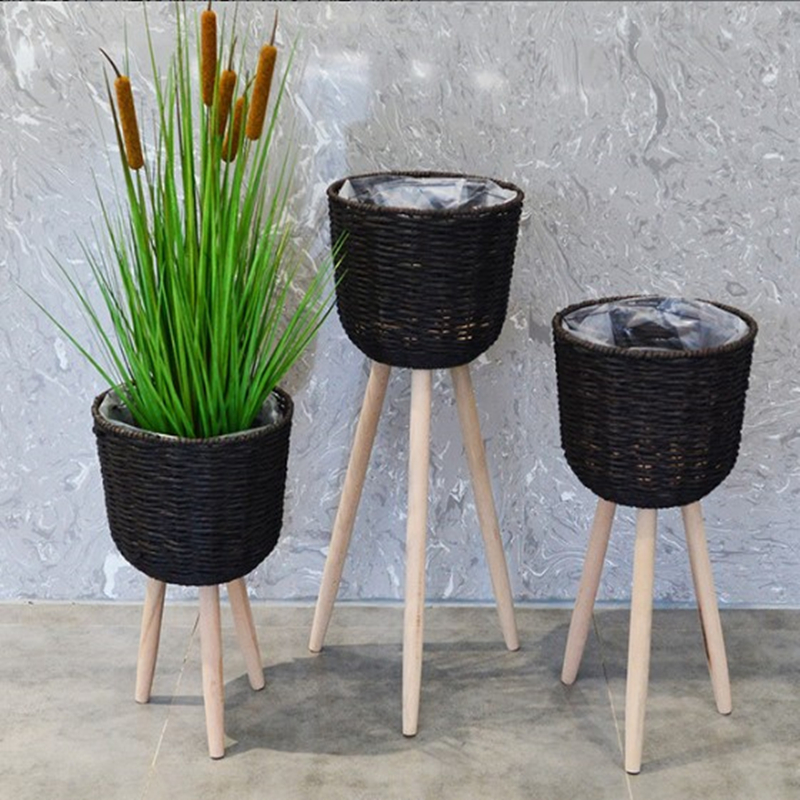 Wooden Floor Stand High And Low Flower Pot Rack Flower Pot Frame Straw Flower Basket Floor Decoration Living Room Balcony Simple