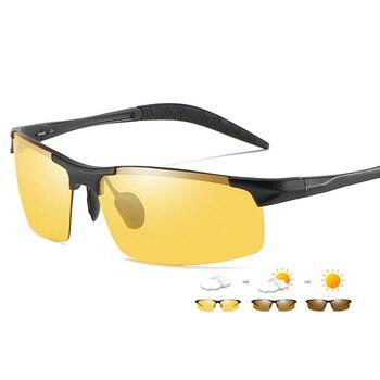 Aluminum Magnesium Photochromic Sunglasses Polarized Night Vision Glasses Men Oculos Driver Yellow Driving Glasses gafas de sol
