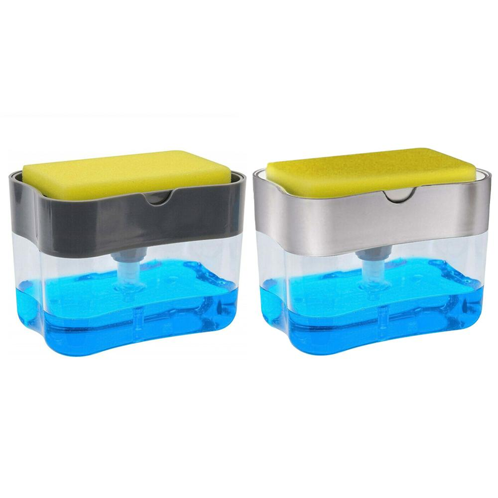 ABS Plastic 2 In 1 Portable Soap Pump Dispenser Sponge Holder For Dish Soap And Sponge Kitchen Tools Bathroom Supplies