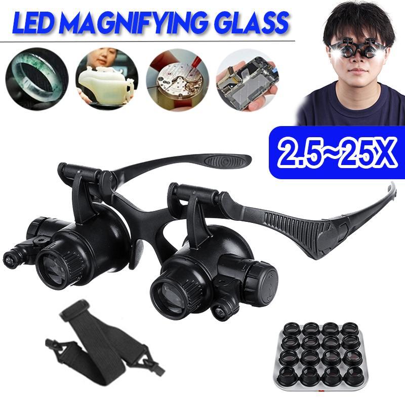 2.5X 4X 6X 8X 10X 15X 20X 25X 8 Lens Loupe Hoofdband Vergrootglas Bril Met Led Licht Hoofd Mount Vergrootglas vergrootglazen