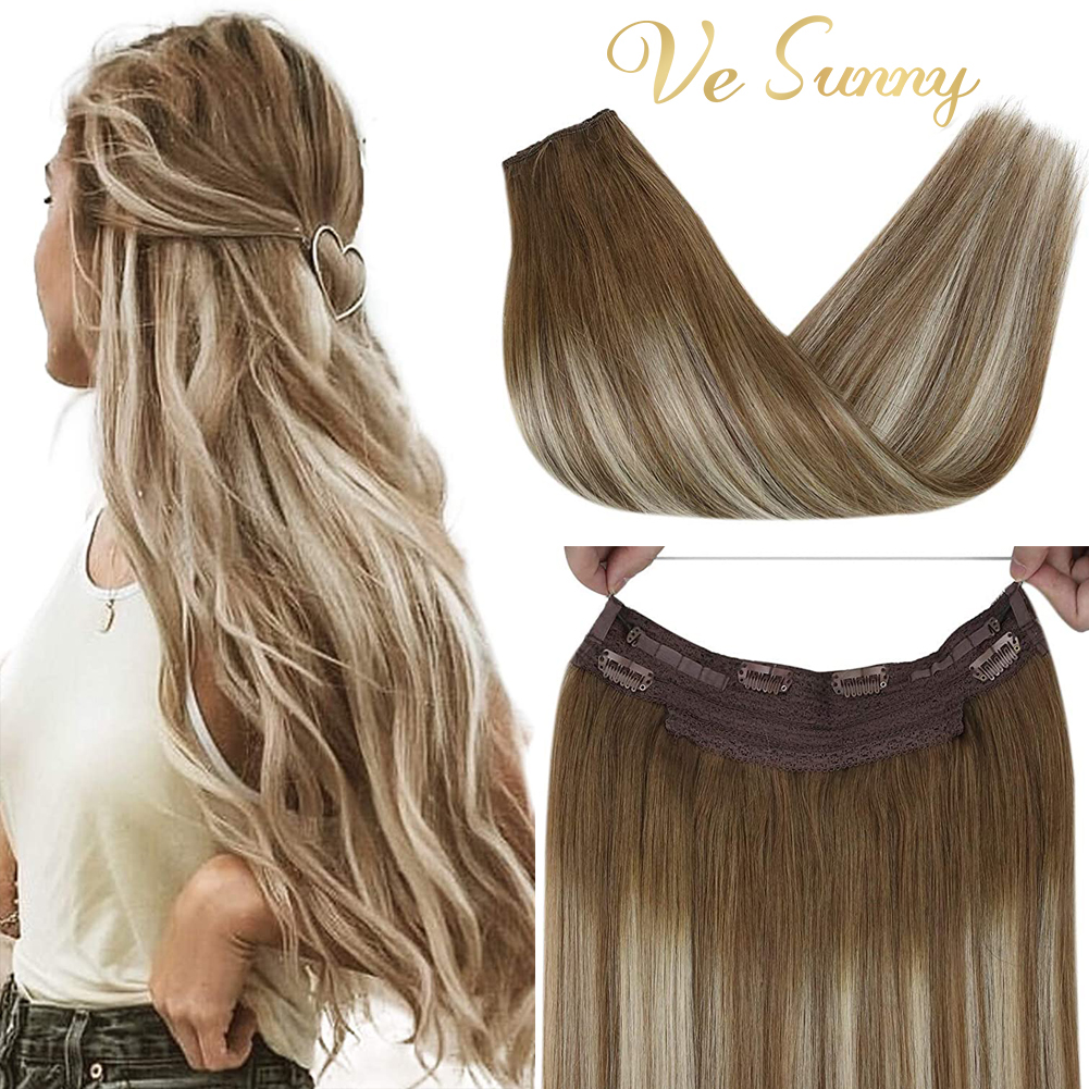 VeSunny Hidden Halo Remy Human Hair Extensions Fish Line Wire Human Hair Extensions One Piece Halo Wire Double Weft