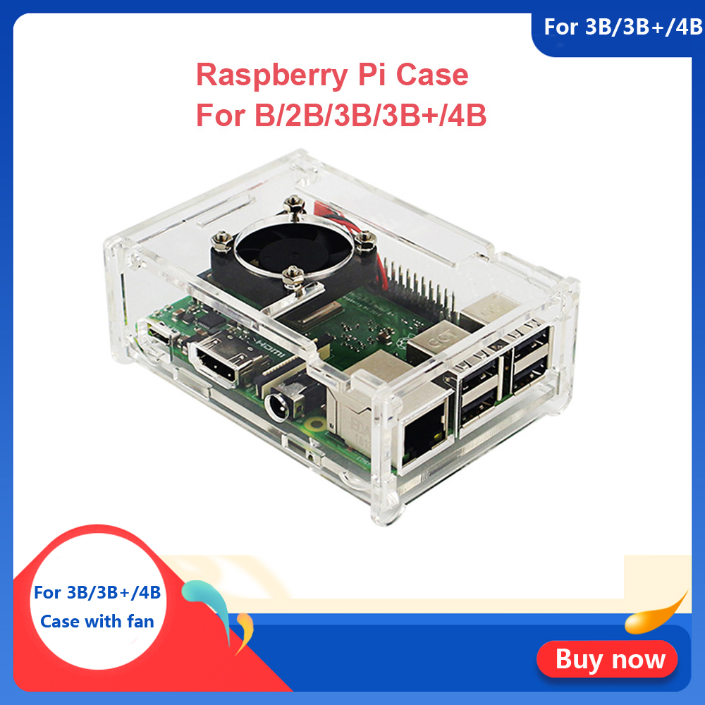 Raspberry Pi 4 Model B ABS Case Transparent ABS Enclosure Box Shell For Raspberry Pi 4B 3B+ Plus 3B 2B B With Fan