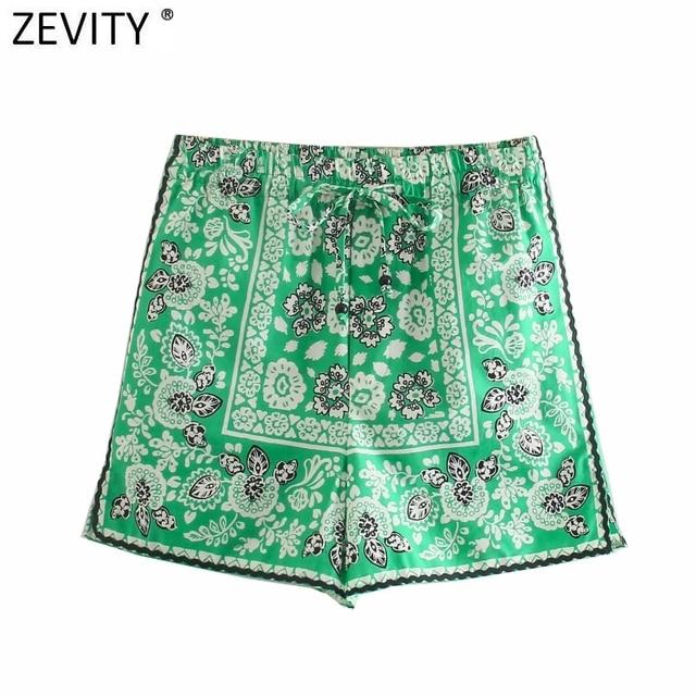 Zevity 2021 Women Vintage Position Flower Print Casual Hot Bermuda Shorts Female Chic Elastic Waist Bow Pantalone Cortos P1140 1