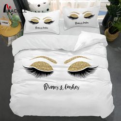 Miracille Bulu Mata Tempat Tidur Linen Emas dan Hitam Mata Lucu Pola Selimut Set Selimut Penutup Set 3 Buah Lucu Selimut untuk Rumah