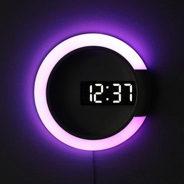 3D Led Wandklok Digitale Tafel Klok Alarm Spiegel Holle Wandklok Modern Design Nachtlampje Voor Thuis Woonkamer Decoraties