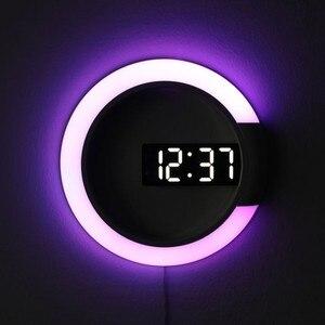Image 1 - 3D светодиодный настенные часы цифровые настольные часы будильник Зеркало полые настенные часы современный дизайн ночник для дома гостиной украшения