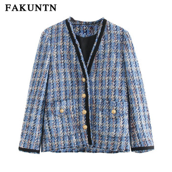 FAKUNTN Women Autumn Jackets Coats 2020 Street Fashion Tweed V Neck Single-breasted Outerwear Female Coat Winter Jacket Women fashion women wool coat plaid classics female loose long single breasted coats 2020 autumn winter jackets trench outerwear