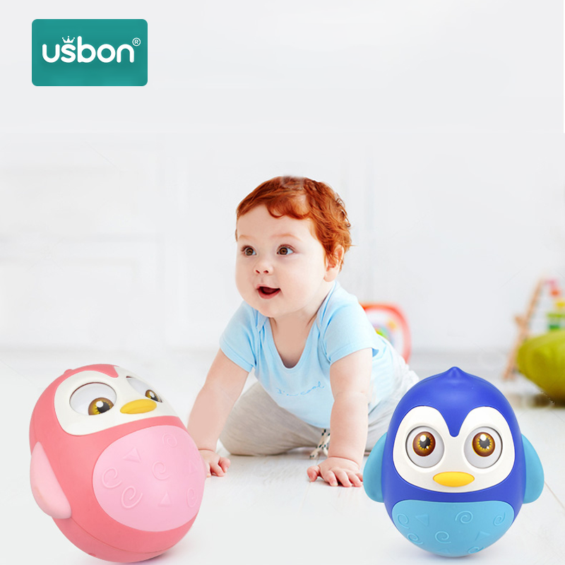 Usbon Baby Rattles Tumbler Doll Baby Toys Sweet Bell Music Roly-poly Learning Education Toys Gifts Baby Bell Baby Toys