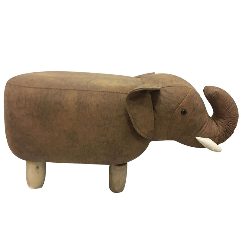 Elephant Seat Animal Model Cushion Sofa Ottoman Shoe Child Stool Pouf Kids Chair Toys StorageFootstool Solid Wood Home Deco