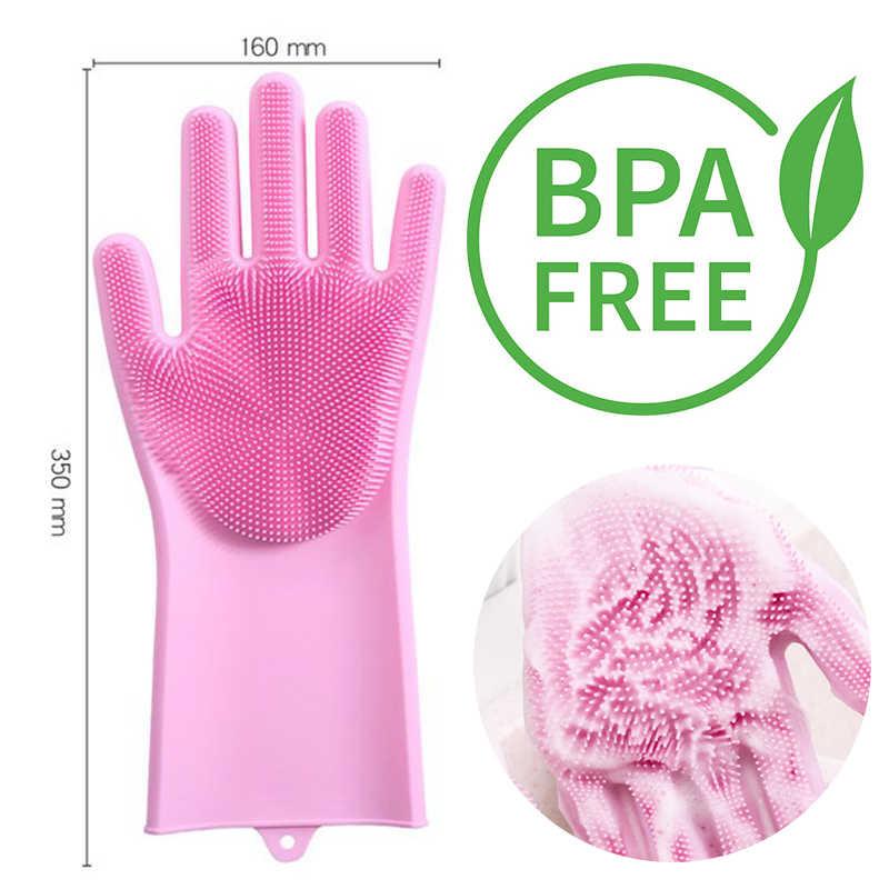 1 คู่น้ำยาล้างจานถุงมือ Magic ยางซิลิโคนจานล้างถุงมือสำหรับครัวเรือน Scrubber ครัวทำความสะอาดเครื่องมือขัด