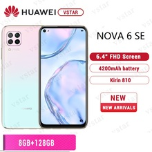 Оригинальный смартфон HUAWEI Nova 6 SE, 6,4 дюйма, Восьмиядерный Kirin 810, Android 10,0, графический процессор Turbo, разблокировка по лицу