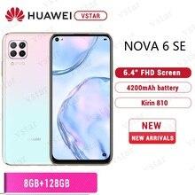 Original HUAWEI Nova 6 SE SmartPhone 6,4 zoll Kirin 810 Octa core Android 10,0 GPU Turbo gesicht entsperren