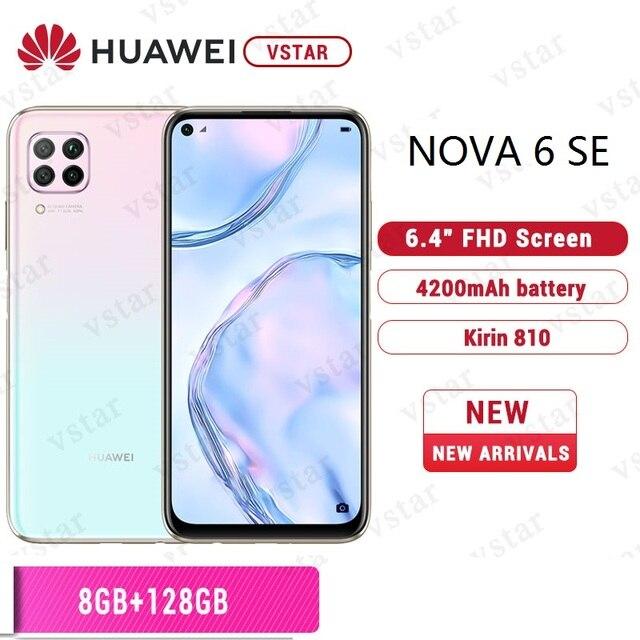 Orijinal HUAWEI Nova 6 SE SmartPhone 6.4 inç Kirin 810 Octa çekirdek Android 10.0 GPU Turbo yüz kilidini