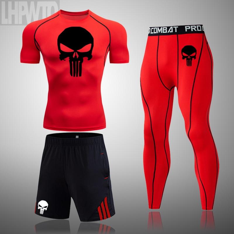 3pcs   set Men s Tracksuit Sport Suit Gym Fitness Skull Compression Clothing Punisher Running Jogging Wear Exercise Tights