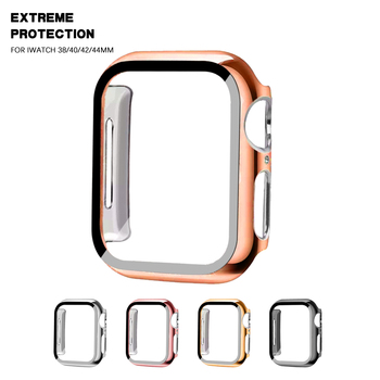 Watch Cover Case for Apple Watch Series 5 4 3 2 1 PC Bumper with Glass Protector Film for iwatch 38MM 42MM 40MM/44MM accessories 10pcs lot oca optical clear adhesive film sticker glue for apple watch 38mm 40mm 42mm 44mm series 1 2 3 4
