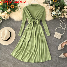 ALPHALMODA Autumn and Winter New Style Faux 2pcs Knit Dress Bow Sashes Pleated A-line Women Casual Thick Knitting Dress
