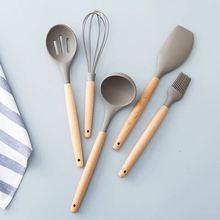 Wooden silicone kitchen utensil nonstick cooking utensils spoon