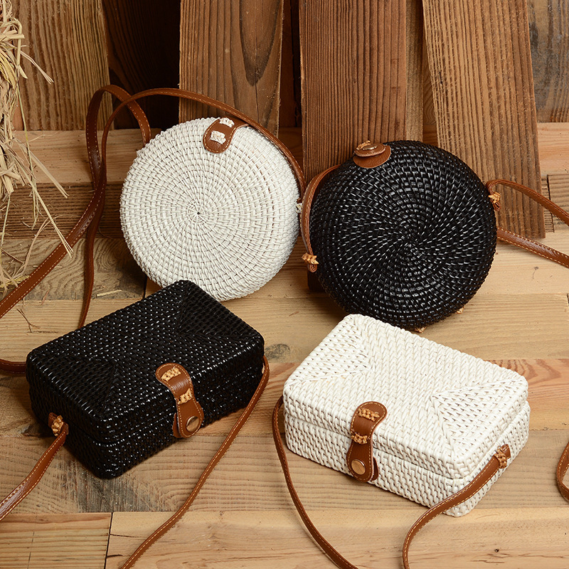 Bali Handmade Braided Bag Messenger Single Shoulder Bag Round Square Bohemia Vacation Beach Bag