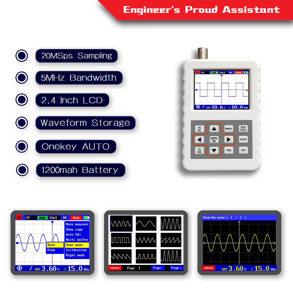 DSO PRO Handheld mini portable digital oscilloscope 5M bandwidth 20MSps sampling rate with P6020 BNC standard probe image