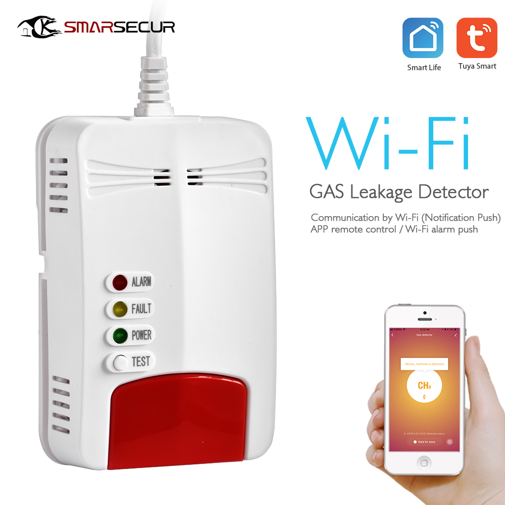 Kitchen Safe Natural Gas Leakage Wifi Alarm APP Detector Tuya APP Wifi Gas Detector