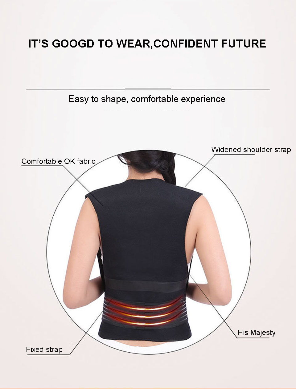 Tourmaline Self Heating Posture Corrector Belt with Nano Infrared Acupuncture Dot Matrix  to Support Spine and Shoulder Helps to Relieve Pain in Back and Joints 16