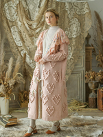 Autumn Winter Women Vintage Ultra Loose Pink Long Sweaters Mori Girls Handmade Wool Ball Embroidery Oversized Coat Cardigans