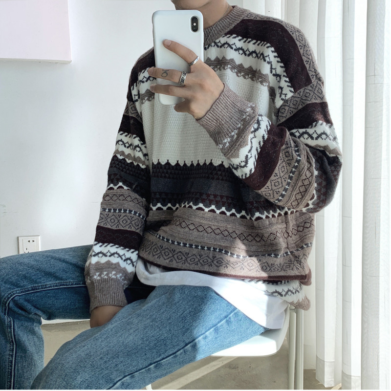 Winter Sweater Men's Warm Fashion Retro Print Casual Knit Sweater Man Wild Loose Long-sleeved Pullover Male Sweter Clothes