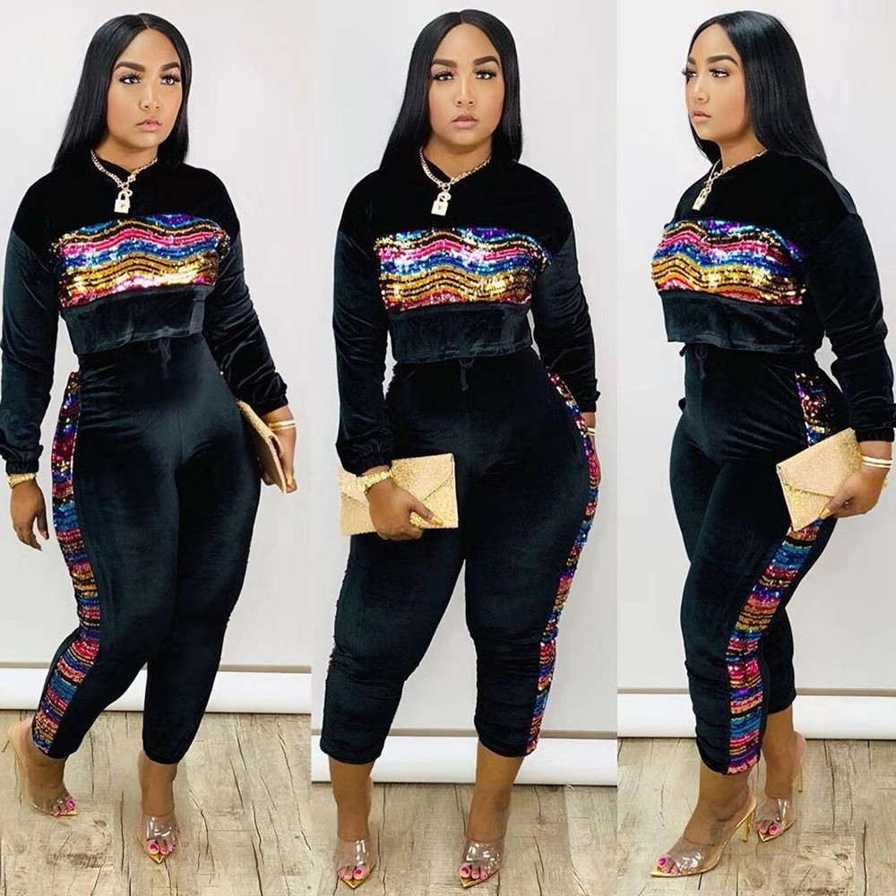 Colorful Sequin Velvet 2 Piece Set Women Tracksuit Sweatshirt Tops Pants Suit Casual Club Outfits Fall Winter Velour Sweatsuit