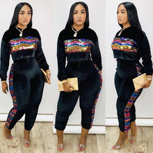 Bunte Pailletten Samt 2 Stück Set Frauen Trainingsanzug Sweatshirt Tops Hosen Anzug Casual Club Outfits Herbst Winter Velours Sweatsuit(China)