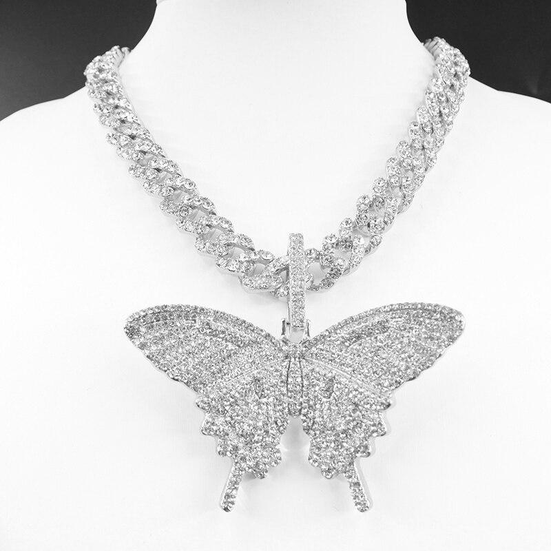 Big size Butterfly pendant charm 12mm bubble miami curb cuban chain hip hop necklace rapper gift rock men women jewelry golden