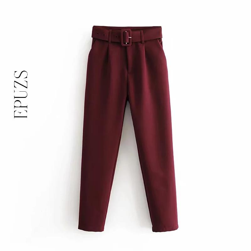 Elegant Khaki Purple Harem Pants Women Pockets Zipper Office High Waist Pants Casual Pencil Trousers