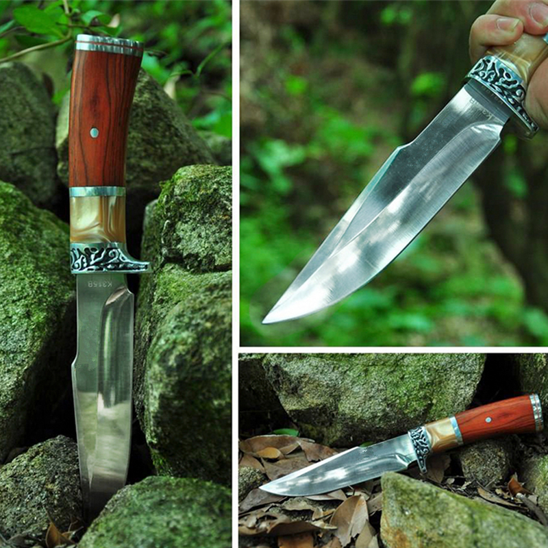 2019 New Straight Knife Hunting Knife Outdoor Camping Self defense Tools  Tactical Fixed Blade Pocket Survival Knives-in Knives from Tools