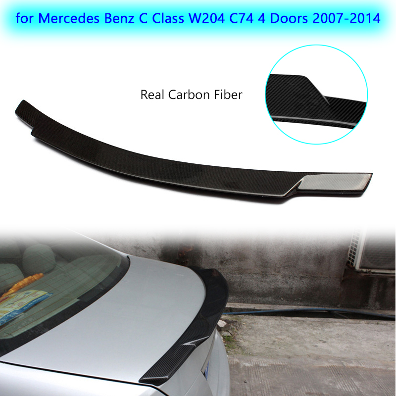 Carbon Fiber Car <font><b>Spoiler</b></font> Rear Truck Lip for <font><b>Mercedes</b></font> <font><b>Benz</b></font> <font><b>C</b></font> <font><b>Class</b></font> <font><b>W204</b></font> C74 4 Doors 2007-2014 Car Styling Refit Rear <font><b>Spoiler</b></font> Wing image