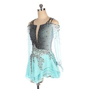 Image 3 - Nasinaya Figure Skating Dress Customized Competition Ice Skating Skirt for Girl Women Kids Gymnastics Performance Gray Gradient