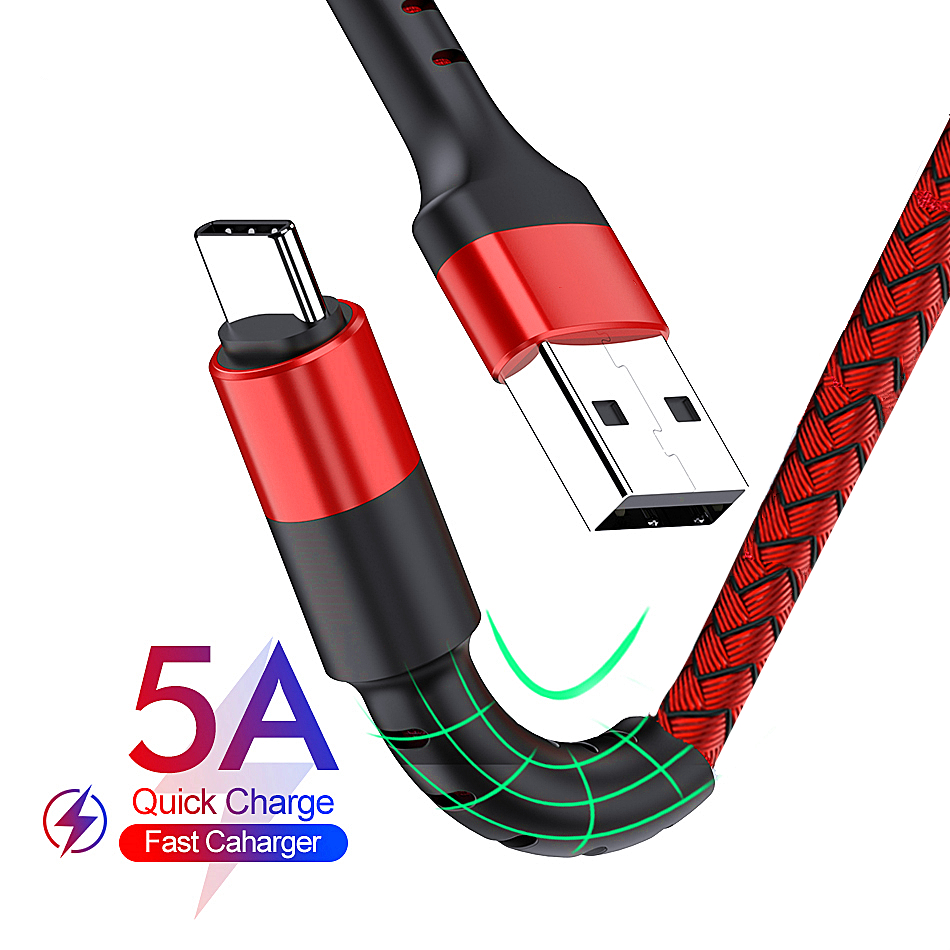 Сверхбыстрый USB-кабель Type C 5A для Huawei Xiaomi Redmi Note 7 QC 3,0, зарядный USB-кабель Type-C для телефона Samsung, дата