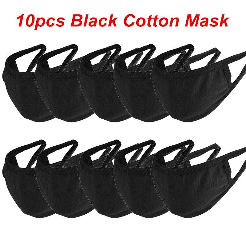 10PCS Black Cotton Mouth Mask Anti Dust PM2.5 Pollution Nose Protect Unisex Sponge Face Mouth Mask White Reusable Masks Safety