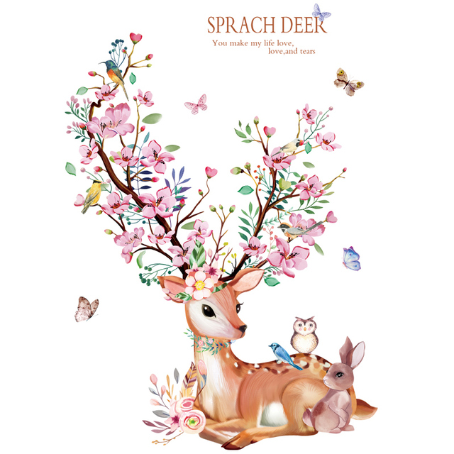 [shijuekongjian] Deer Rabbit Animal Wall Stickers DIY Flowers Wall Decals for House Kids Rooms Baby Bedroom Decoration