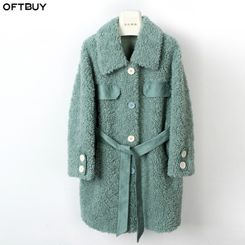 OFTBUY 2019 Casual Winter Jacket Women Real Fur Coat 100% Wool Content Woven Outerwear Teddy Polar Fleece Plush Belt Outerwear