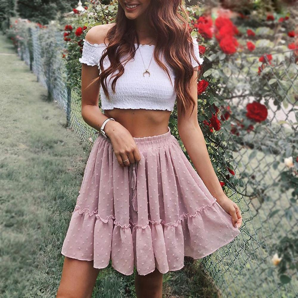 Casual Mini Skirts Womens  High Waist Skirts Lady Elastic Party A Line Mini Pleated Ruffle Cute Beach Short Skirt Streetwear