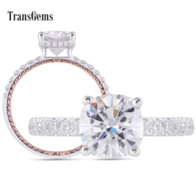 Transgems 14K White and Rose Gold Center 2ct 7.5mm Cushion Cut F Color  Moissanite Engagement Ring for Women with Accents