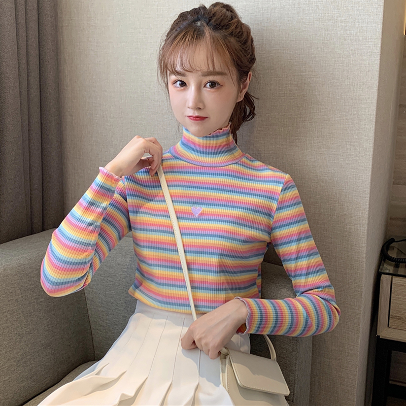 New Autumn Sweater Women Harajuku Rainbow Sweater Loose High Neck Knit School Girl Sweater Sweet Embroidery Love Sweater Female