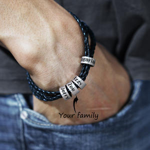 Bracelet Charm Braided Beads-Name Custom Stainless-Steel Family Genuine-Leather Personalized
