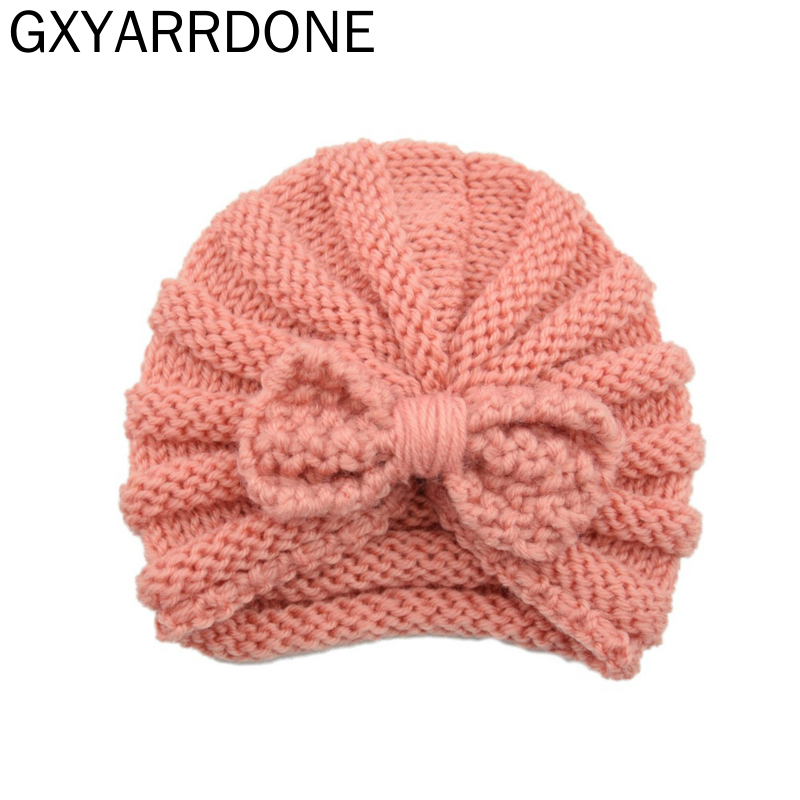 Knitted Baby Winter Hat 12 Colors Baby Bows Beanie Turban Hats Kids Cap Newborn Bowknot Hat For Girls Toddler Accessories