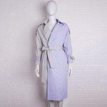 Purple Stitching Windswear Long Loose Korean Edition Early Autumn Outerwear Women Tide 2019 Coat