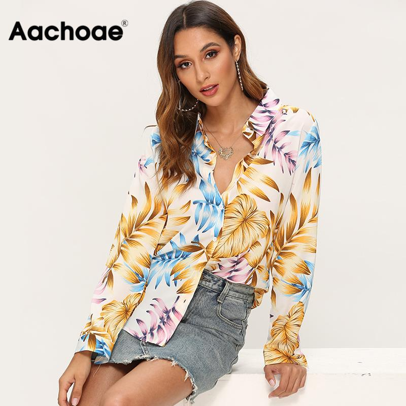 Womens Tops And Blouses 2020 Floral Print Long Sleeve Vintage Blouse Turn Down Collar Casual Loose Shirt Blusas Chemisier Femme