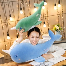 New 55cm/80cm Soft Creative Simulation Whale Plush Toy Cartoon Animal Fish Stuffed Doll Sofa Chair Pillow Cushion Children Gift 80cm simulation animal lifelike octopus plush toy throw pillow creative stuffed lucky fish ocean animal doll decoration gift